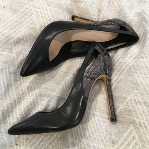 Zara pumps size 38 black snake cut out